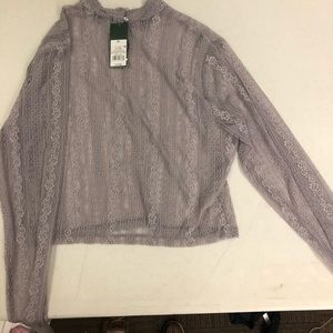 Lilac long sleeve collar see through lace shirt